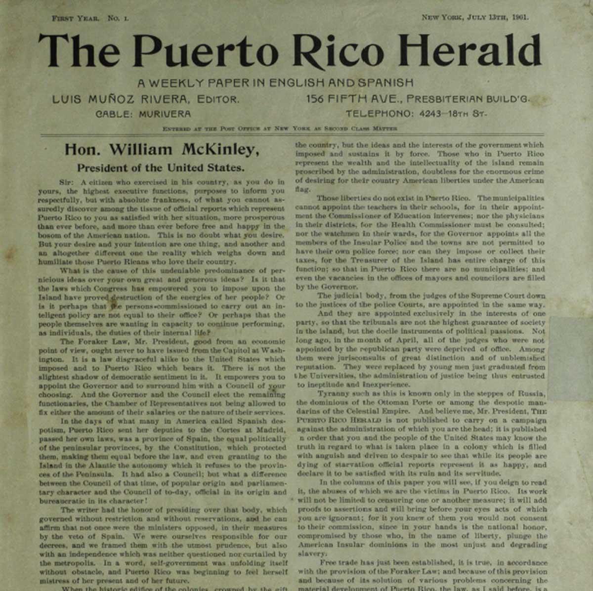 1901 - Portada Puerto Rico Herald 1901
